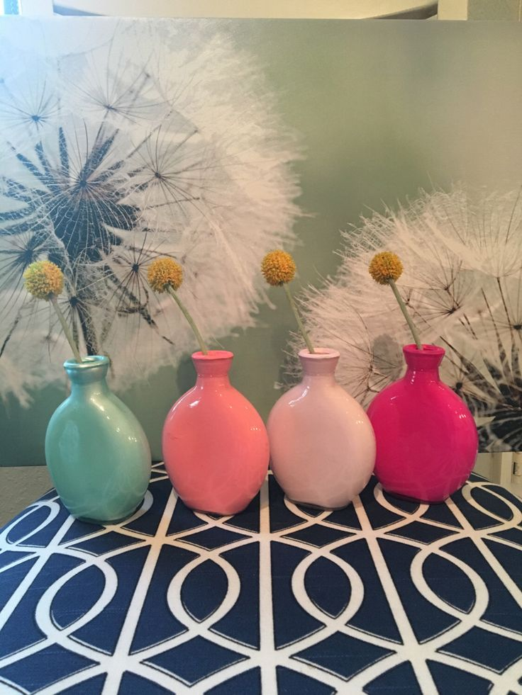 A personal favorite from my Etsy shop https://www.etsy.com/listing/267060202/fun-4-piece-set-colored-mini-glass-vase