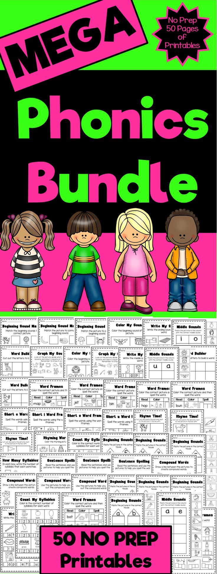 Syllable patterns vccv worksheet education com - Mega Phonics Worksheet Bundle Pre K Kindergarten