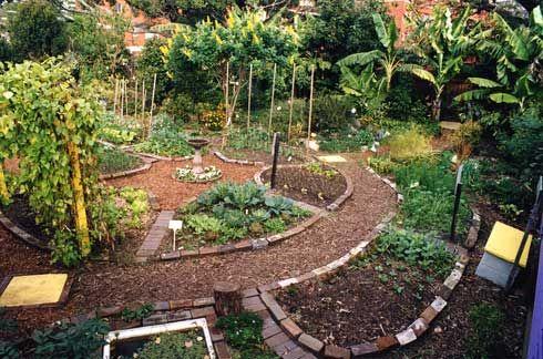 Narrow paths lead into a circular vegetable garden from for Circular garden designs