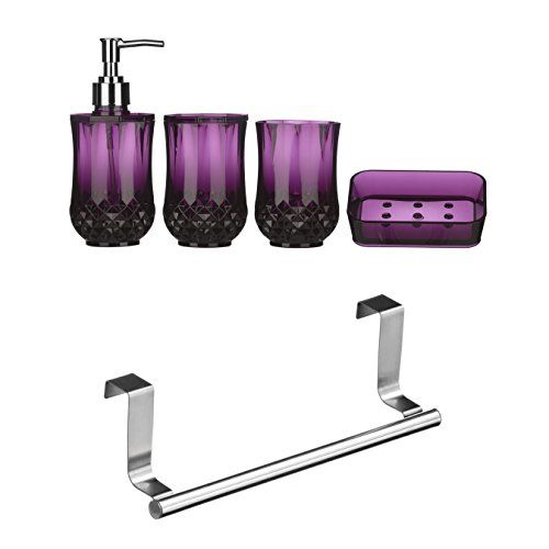 From 15.48 Premier Housewares Cristallo Bathroom Set 4 Pieces - Purple With Over Door Hanging Rail 23 Cm - Silver