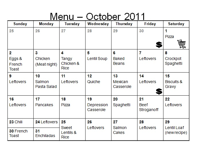 Monthly Menu Planning! October Food/Recipes Pinterest Menu