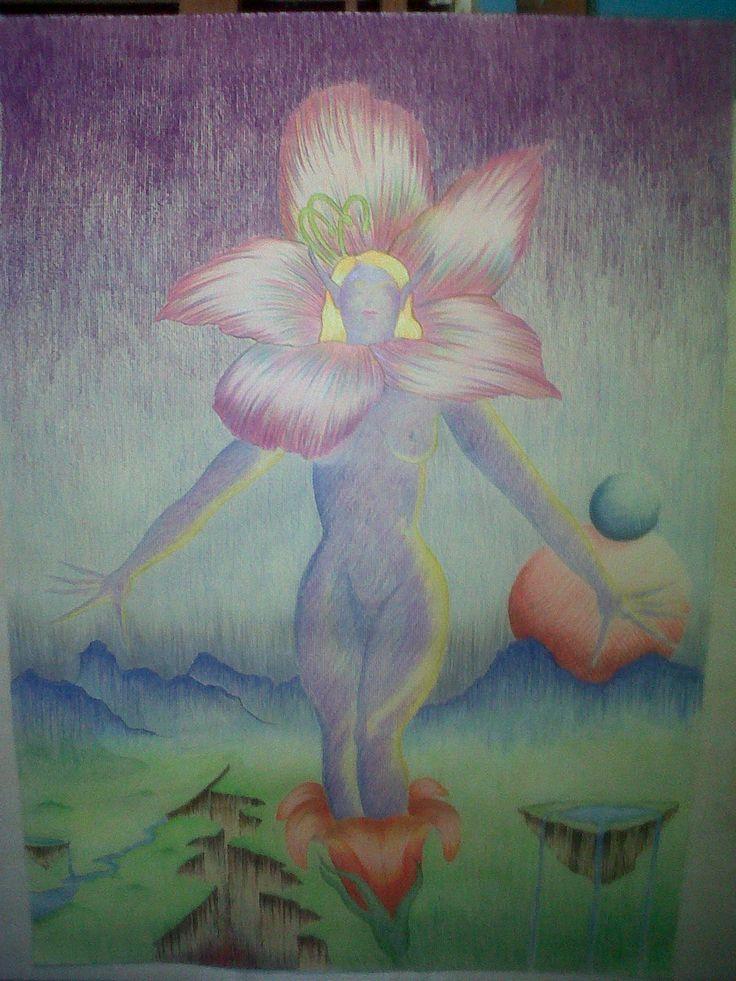Hada de Sueño Terrenal,2010 Lapices de Colores sobre papel 80x60 cm