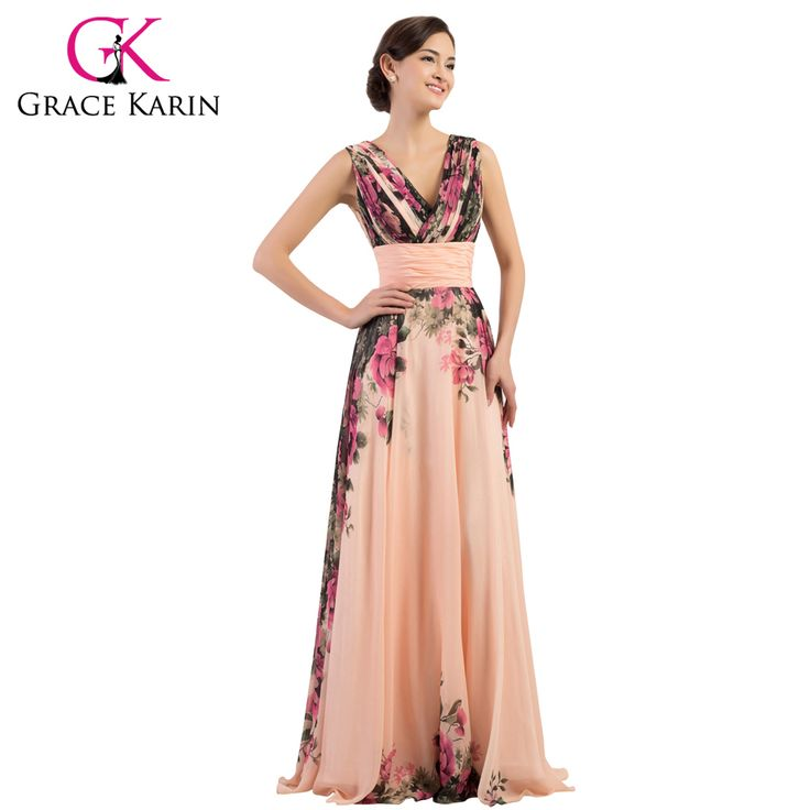 Graça Karin Sexy Backless Elegante Flor Floral Padrão de Vestido de Noite Longo Vestidos Formais Vestido de Chiffon robe de soirée CL7502
