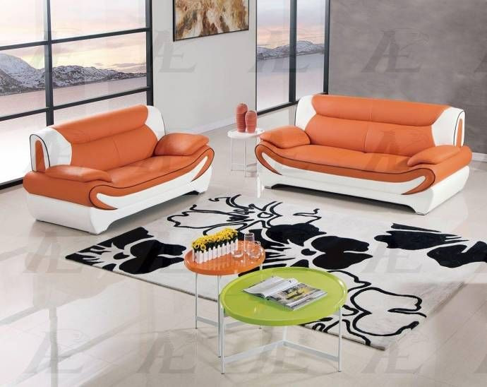 Orange White Sofa And Loveseat Set F Leather 2pcs American Eagle Ae209 Org Iv Ae209 Org Iv Set 2 Buy Online Sofa And Loveseat Set Sofa Set Leather Sofa Set