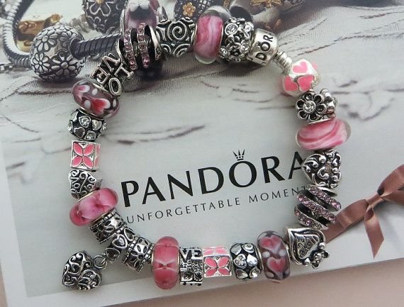"""Valentines """"Lots of Love"""" ~ Authentic Pandora Bracelet with European Lampwork Murano glass Beads and Charms 16"""
