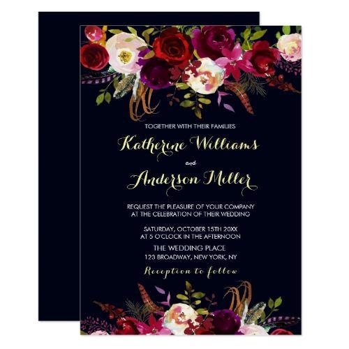 Navy Burgundy Marsala Boho Floral Autumn Wedding Invitation | Zazzle.com