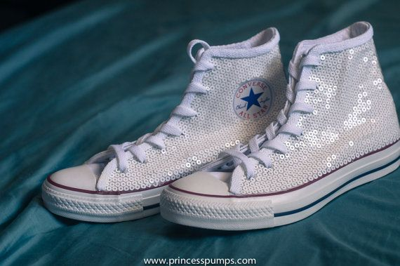 Optical White #Sequin #Converse All Star Hi Top by princesspumps #custom #wedding #shoes #weddingshoes