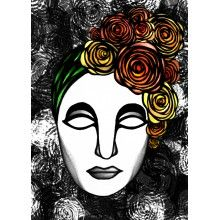 "Juliste ""Ruusuleidi, oranssit kukat/mustavalkoinen"" - A4, A3, 50x70cm"