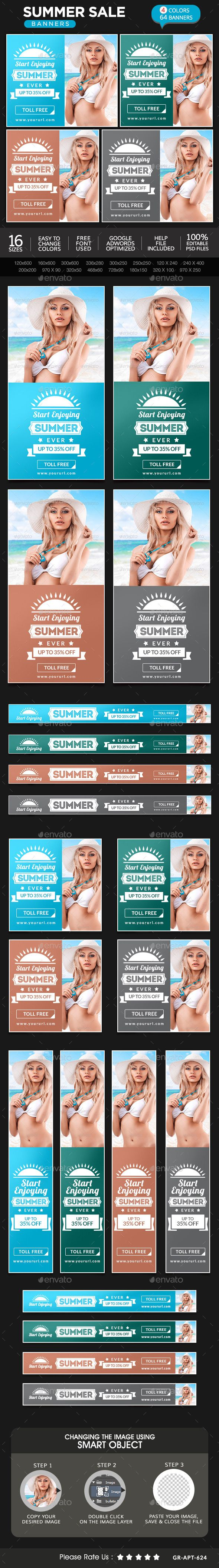 Summer Sale Banners Design Template #webbanners Download: http://graphicriver.net/item/summer-sale-banners/11450596?ref=ksioks