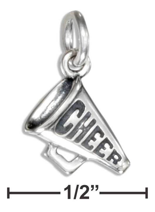 """Sterling Silver Small """"Cheer"""" Megaphone Charm"""