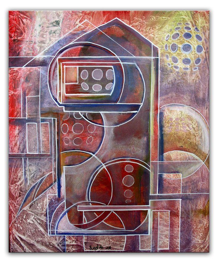 Burgstaller abstrakte Malerei Gemälde rot grau handgemalte Acrylbilder 50x60