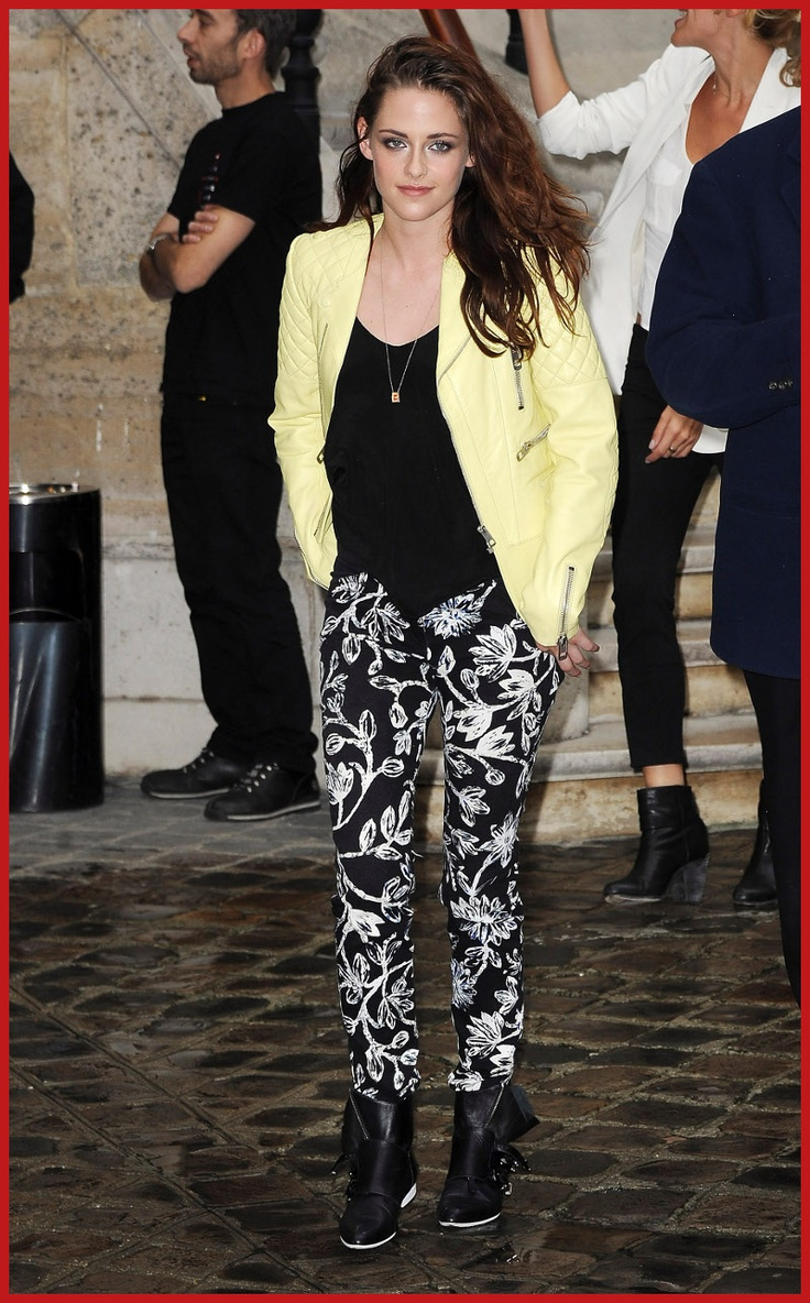 yellow jacket, black and white pants? stripes? bumble bee?