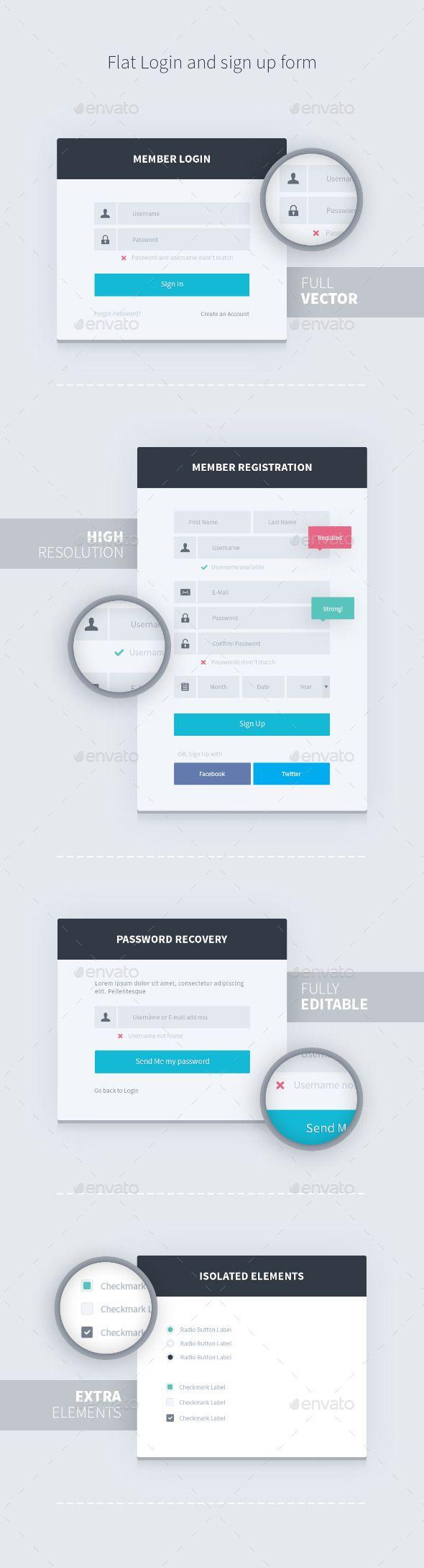Flat Login and Sign Up Form #design Download: http://graphicriver.net/item/flat-login-and-sign-up-form/11327905?ref=ksioks