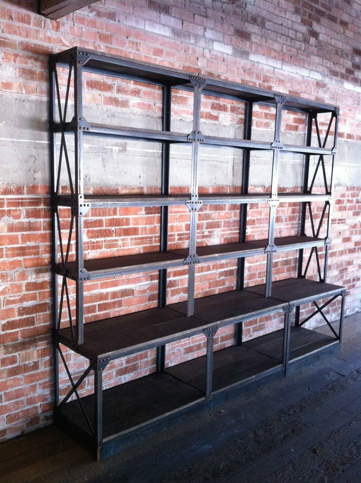 French Industrial Ironworker Shelving. This would look great in the shop and I know I have all I need to make it. Love being married to an iron worker!