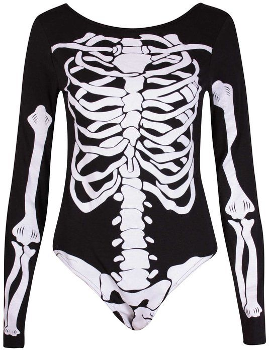 PurpleHanger Women's Haloween Skeleton Printed Leotard Bodysuit Top Black 4-6