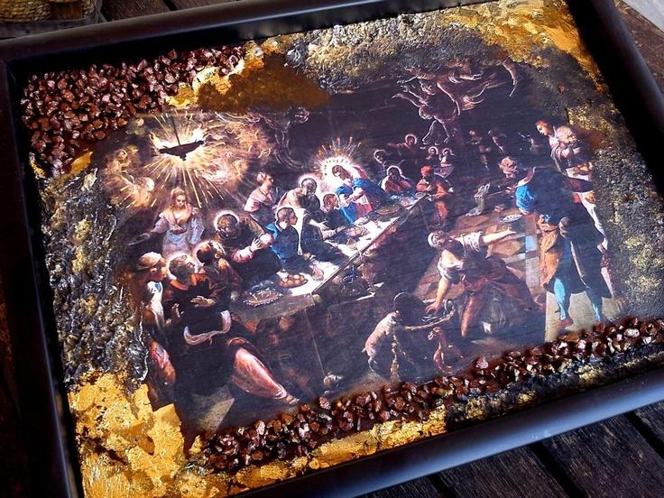 """Επίτοιχη εικόνα με παλαίωση, φύλλα χρυσού, πάστα διαμόρφωσης και ανάγλυφες πέτρες με θέμα """" The Last Supper""""-Tintoretto-  https://www.facebook.com/xeirostechnimata"""