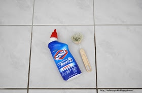 use clorox toilet bowl cleaner with bleach and a scrub brush to clean grout lines