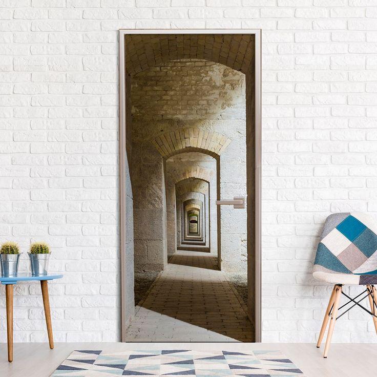 Tapeta na drzwi z przestrzennym wzorem