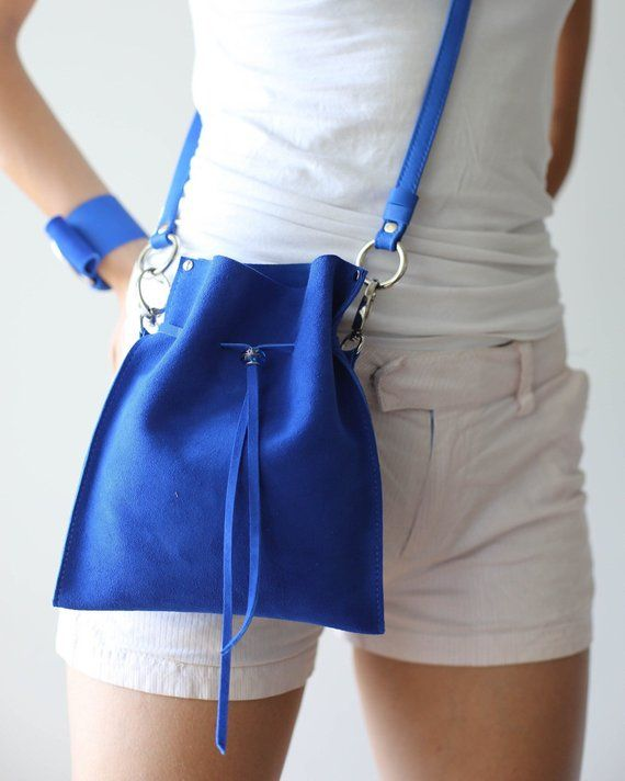 Small Leather Bag, Blue Leather Bag, Small Leather Crossbody Bag