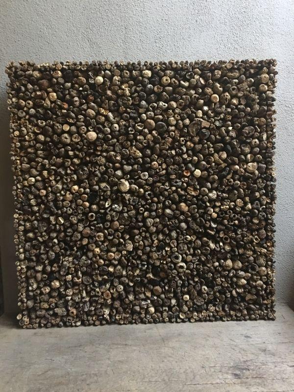 Groot drijfhouten wandpaneel driftwood sloophout landelijk doorleefd vergrijsd 80 x 80 cm