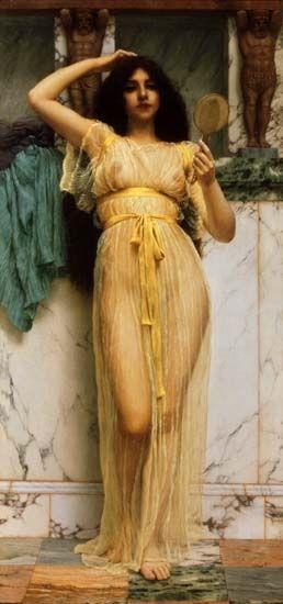 Pre Raphaelite Art: John William Godward - Girl with a Mirror