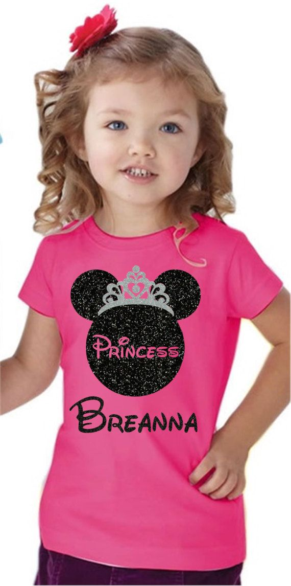 Disney Princess Shirt/Princess Shirt Glitter/Custom Disney Shirts/Disney Kids Shirts/Minnie Ears Shirt/Girls Disney Princess Shirt