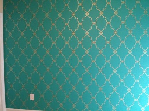 Metallic Gold Stencil Raj Indian On Turquoise Accent