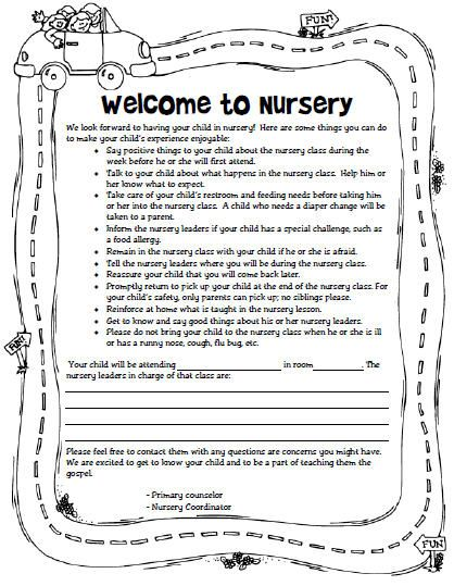 Welcome To Nursery Letter