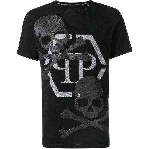 Philipp Plein Deceitful T-shirt (1.540 BRL) ❤ liked on Polyvore featuring men's fashion, men's clothing, men's shirts, men's t-shirts, black, men's cotton short sleeve shirts, mens short sleeve t shirts, mens skull shirts, philipp plein men's t shirt and mens rock and roll shirts