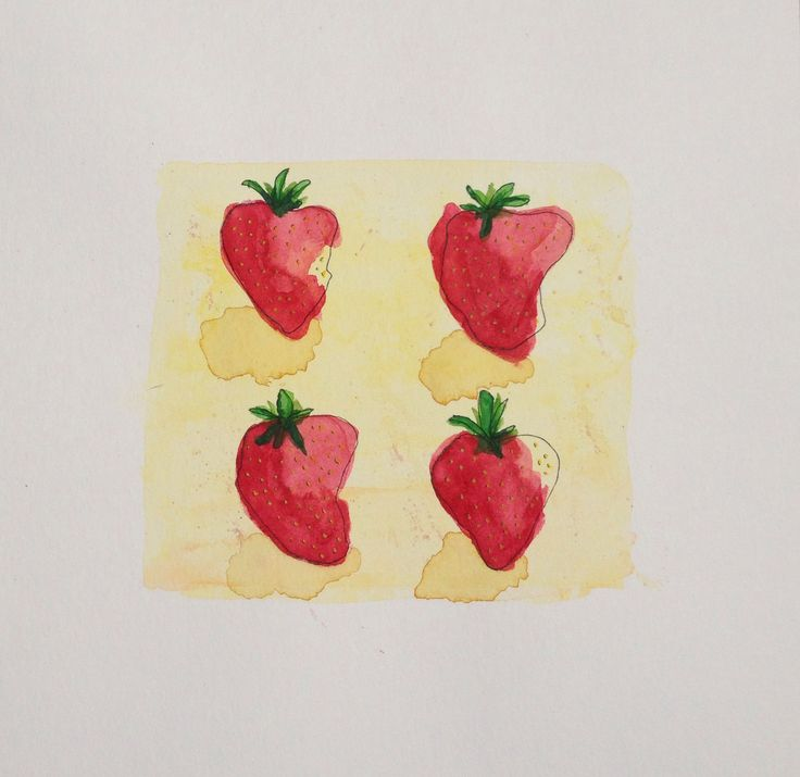 Strawberries attempt number two. Watercolor and fineliner illustration.