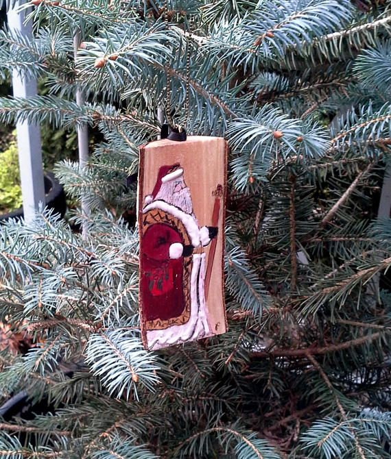 Holiday Christmas ornament art only Old St. Nicholas wood handmade by JensDreamDesigns on etsy