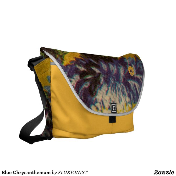 stay visible Blue Chrysanthemum Courier Bag - $129.00 Made by Rickshaw Bagworks / Design: Fluxionist