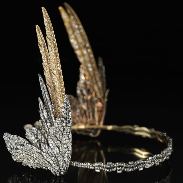 """The Winged tiara by Cartier made in 1935 will be on display at the VCA, Dundee (Scotland) . . According to the newspaper the Scotsman : """" The tiara was inspired by winged helmets worn by Valkyries – warrior women of Norse mythology who rode on horses over battlefields choosing men to die and be worthy of a place in Valhalla and immortalised in Richard Wagner's opera Der Ring des Nibelungen (The Ring Cycle). . The tiara comprises more than 2,500 cushion-shaped, single-cut, circular-cut and…"""