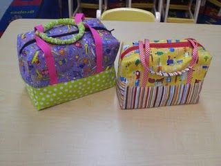 Cute little bags... little girl sized travel bags, dolly diaper bags, portable LEGO bags, maybe older girl makeup kits or small manly toiletries bags? I think I'd interline the bottoms with light canvas...