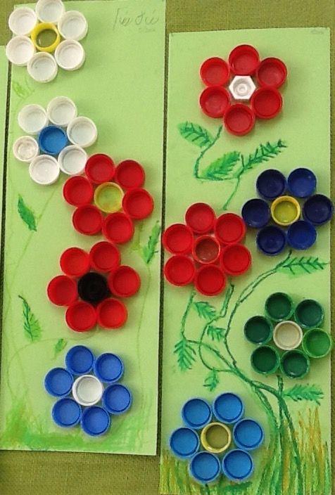 Λουλούδια με πλαστικά καπάκια. Λεπτομέρειες με λαδοπαστέλ. Νηπιαγωγείο Επισκοπής Ηρακλείου