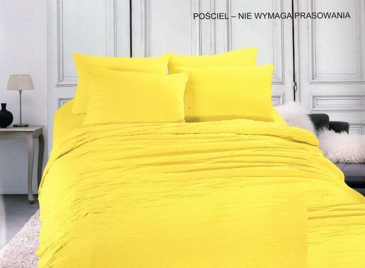 Jednokolorowa pościel z mikrowłókna w kolorze żółtym