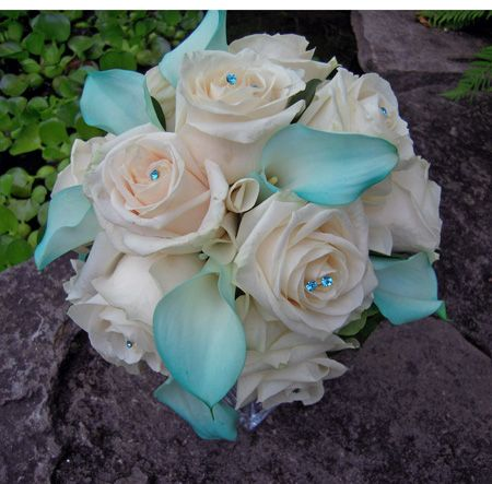 BB0469-Pool Blue Calla Lily and Ivory Rose Bridal Bouquet