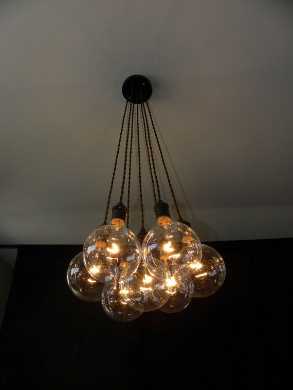 Hanging Edison Lights 7 Cluster Custom Any Colors - Chandelier Multi Pendant