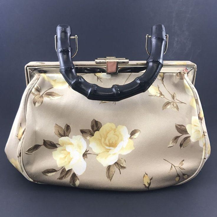 BANANA REPUBLIC Yellow Rose Tan Bamboo Handle Evening Handbag Purse mirror 04    eBay