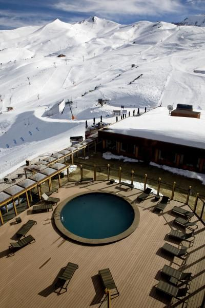 Hotel Puerto del Sol, Valle Nevado, Chile. Hot tub overlooking Santiago and the Andes.