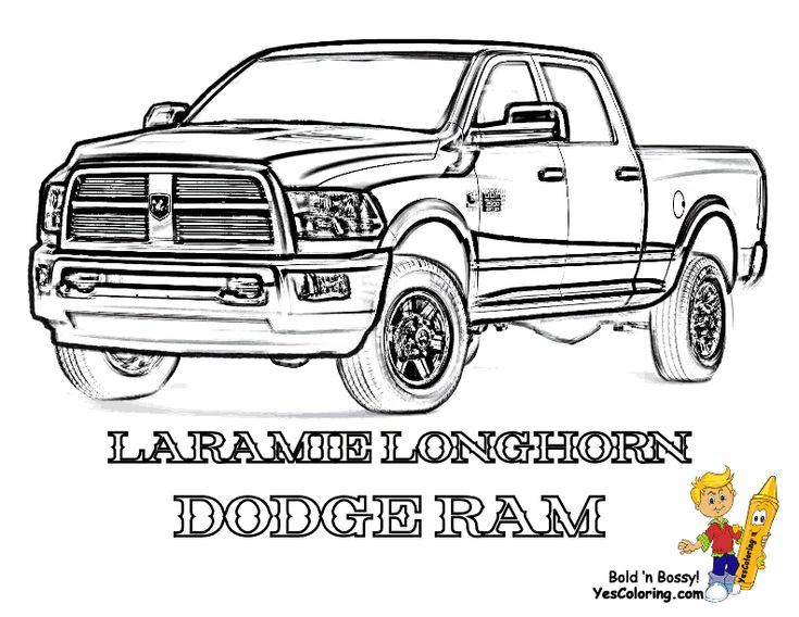 truck coloring dodge longhorn at yescoloring - Pickup Truck Coloring Pages