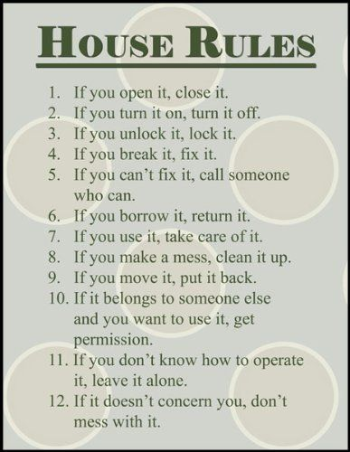 House Rules-something like this would work in my classroom too!