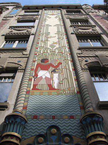 Interesting Egyptian Art Deco architecture, Strasbourg, Alsace, France.