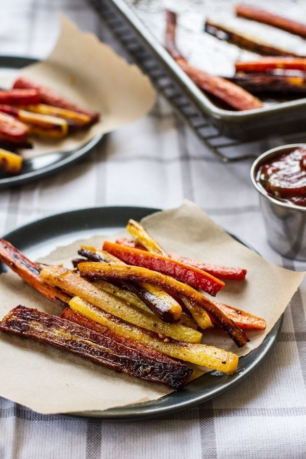 Roasted carrot fries with garlic basil ketchup.