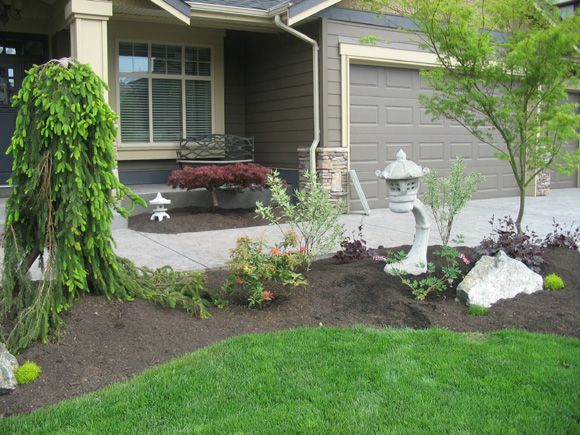 Weeping evergreen fun idea for a unique front focal point - Small backyard landscape designs ...