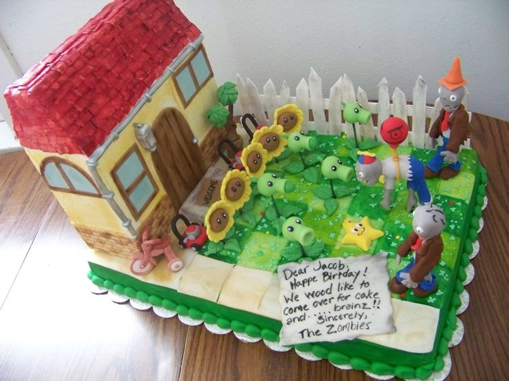 Plants vs Zombie Cake Items | plants vs zombies 12x18 cake zombies and plants are fondant