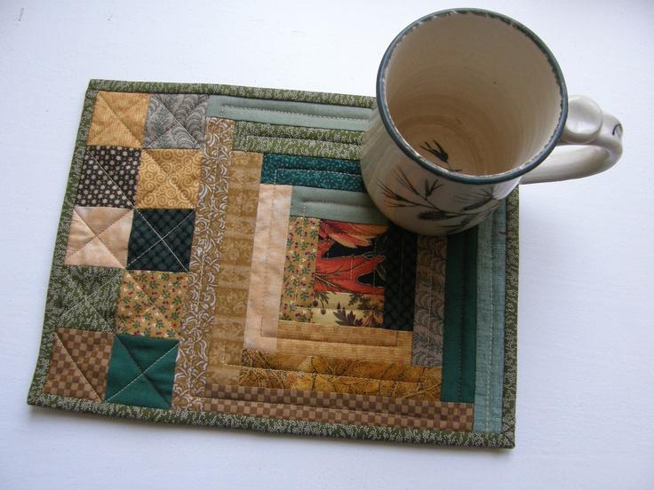 Autumn Quilted Mug Rug - Log Cabin. $10.50, via Etsy.