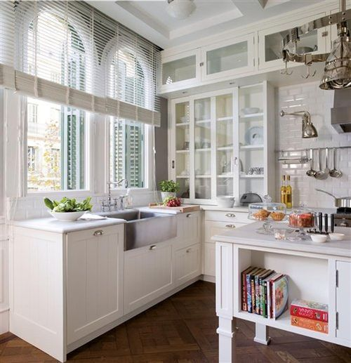 I like brightness in a kitchen and a sense of space. Height factor is everything. Glass front cupboards too.: Floors Patterns, Beauty Kitchens, Cabinets Idea, Kitchens Tables, Rustic Kitchens, Grey Kitchens, Farms Sinks, Glasses Cabinets, White Kitchens