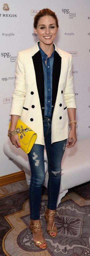Olivia Palermo in denim and a sleek white tuxedo jacket
