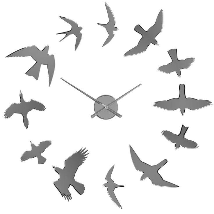 Reloj de pared adhesivo Pájaros